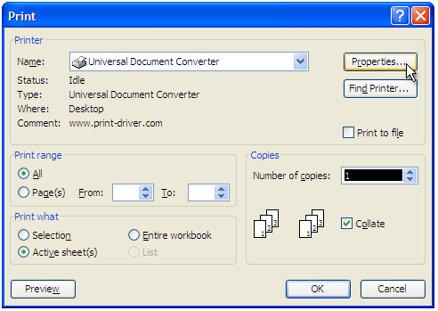 Select Universal Document Converter from the list of printers and press the Properties button.