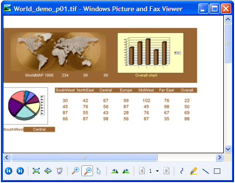The converted spreadsheet in Windows Picture and Fax Viewer.