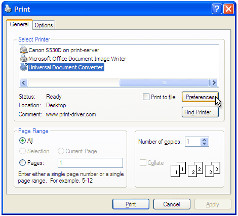 Select Universal Document Converter from the printers list and press Preferences button.
