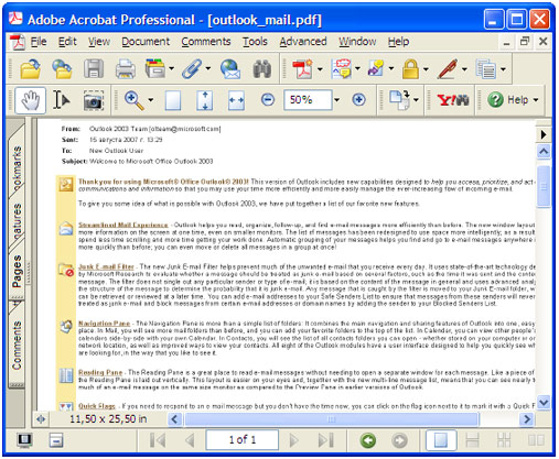 Converted email in Adobe Acrobat.