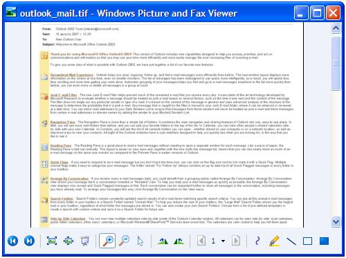Converted e-mail in Windows Picture and Fax Viewer.