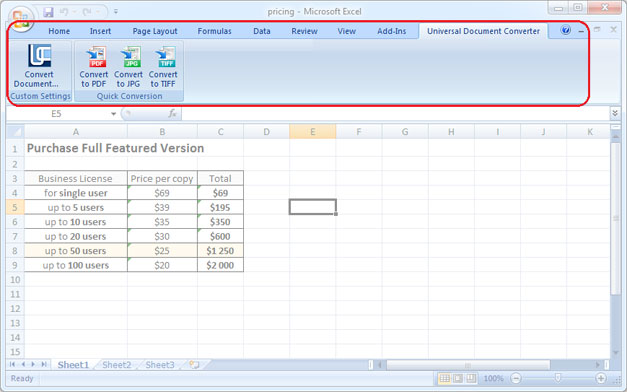 Universal Document Converter toolbar in Microsoft Excel