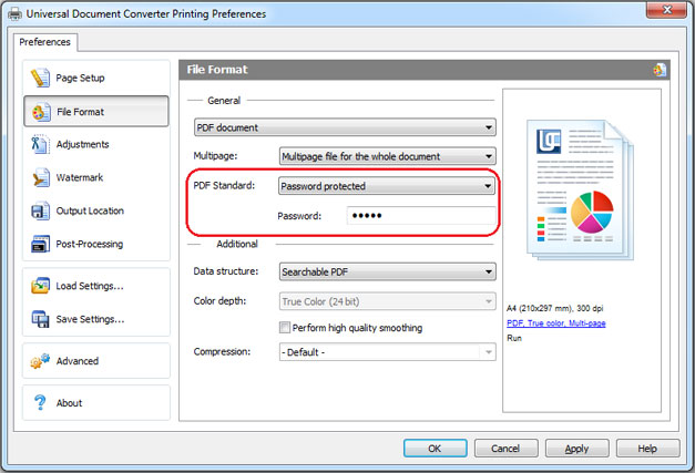 PDF password protection feature in Universal Document Converter settings