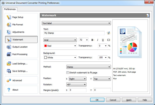 Universal Document Converter settings for text watermark
