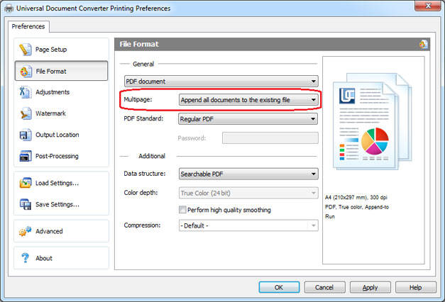 Append all documents to existing pdf feature of UDC