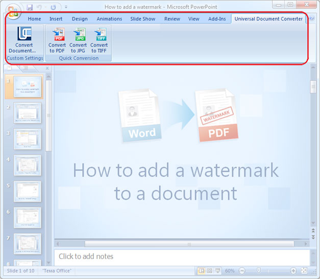 Universal Document Converter Toolbar in Microsoft PowerPoint