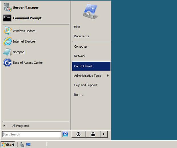 Go to Windows Server Start menu and click Control Panel