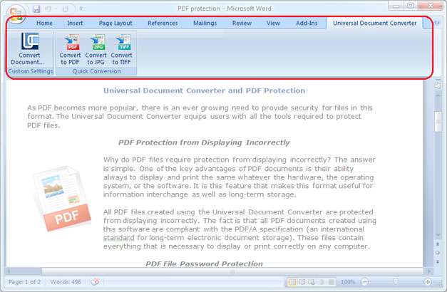 Universal Document Converter toolbar in Microsoft Word 2007