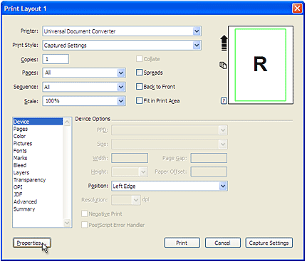 Select Universal Document Converter from the printers list and press Properties... button.