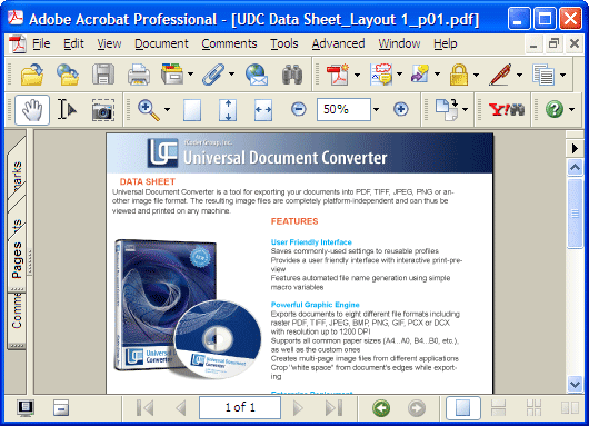 Converted document in Adobe Acrobat.