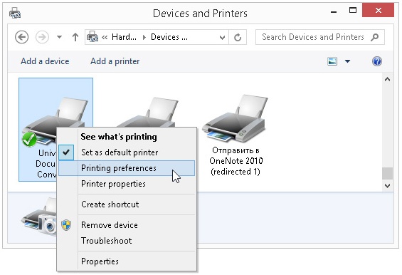 Click 'Printing Preferences' on the popup menu