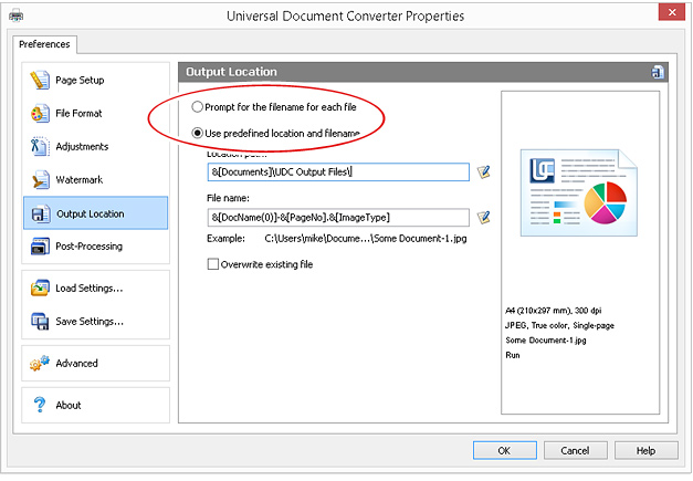 Check 'Use predefined location and file name'