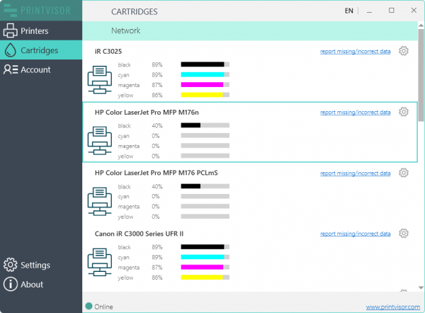 Track ink and toner levels of the printers in your network