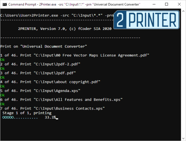 Making PDF printer work from command line with fCoder 2Printer 7.0