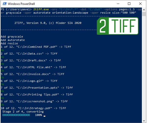Convert PDF, DOCX, HTML, JPG, PNG to TIFF from command line with 2TIFF